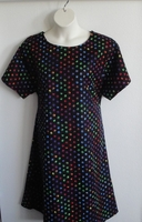 Image Orgetta FLANNEL Nightgown - Rainbow Paw Prints on Black