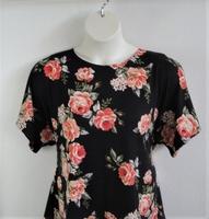 Image Tracie Shirt - Coral/Black Rose Rayon Knit