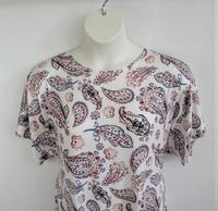 Image Tracie Shirt - Rust/Teal Paisley Rayon Knit