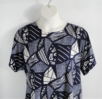 Image Tracie Shirt - Navy Geometric Brushed Poly Knit