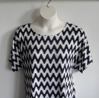 Image Tracie Shirt - Black/White Aztec Chevron Cotton Knit