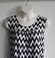 Image Sara Shirt - Black/White Aztec Chevron Rayon Blend Knit