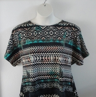 Image Tracie Shirt - Teal Aztec Cotton Knit