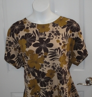 Image CLEARANCE --Tracie Shirt - Brown Floral Cotton (SMALL ONLY)