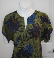 Image CLEARANCE --Gracie Shirt - Purple/Green Tropical (XS & SMALL ONLY)