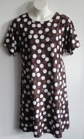 Image SECOND -- Size XL --Orgetta Nightgown - Brown Dot Cotton Knit   29