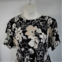 Image Tracie Shirt - Black/Tan Floral Brushed Poly Knit