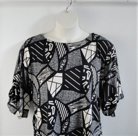 Image Libby Shirt - Black Geometric Brushed Poly Knit