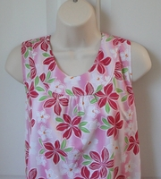 Image CLEARANCE --Sara Shirt - Pink Floral Polyester Knit (SMALL ONLY) copy