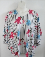 Image Kiley Side Opening Shirt - Pink/Blue Floral on Stripe Brushed Poly Knit