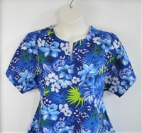 Image Gracie Shirt - Blue Tropical Poly/Cotton Blend