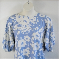 Image Libby Shirt - Blue/White Floral Brushed Polyester Knit