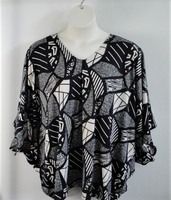 Image Kiley Side Opening Shirt - Black Geometric -- Brushed Poly Knit