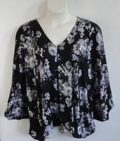Kiley Side Opening Shirt - Black/Gray Floral Rayon Knit