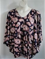 Image Kiley Side Opening Shirt - Navy/Rust Paisley Rayon Knit