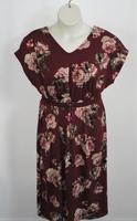 Image Randi Dress - Burgundy/Mauve Floral Brushed Poly Knit