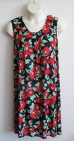 Image Heidi Nightgown - Black/Red Floral Jersey
