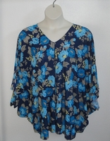 Image Kiley Side Opening Shirt -Blue Floral Poly Jersey