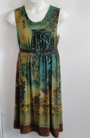 Image Dani Dress - Brown/Green Batik Border