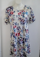 Image Orgetta Nightgown - Red/White/Blue Floral Rayon Knit