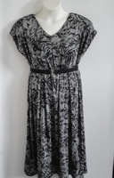 Image Randi Dress - Black/Gray Leaves Acetate Blend