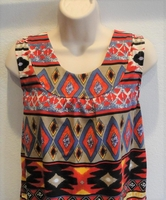 Image Sara Shirt - Red Aztec Cotton Knit