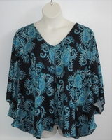Image Kiley Side Opening Shirt - Teal on Black Paisley