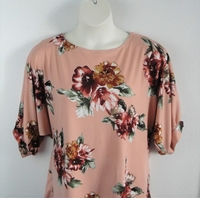 Image Libby Shirt - Peach/Rust Floral Brushed Polyester Knit