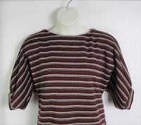Image Jan Sweater - Tan/Burgundy Stripe Heavy Sweater Knit