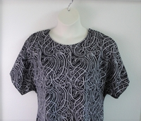 Image Tracie Shirt - Black/Gray Squiggles Poly Knit