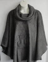 Image Riley Cape/Poncho - Gray - Chenille Fleece Sweater copy