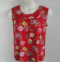Image Sara Shirt - Red/Yellow Floral Rayon Knit