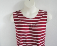 Image Sara Shirt - Cranberry Stripe Rayon Knit