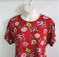 Image Tracie Shirt - Red Floral Rayon Knit