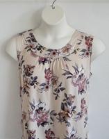 Image Sara Shirt - Tan Floral Rayon Knit